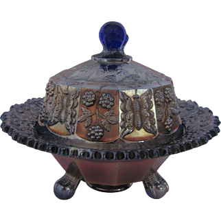 Carnival Glass Fenton Butter Dish Butterfly And Berry Cobalt Blue