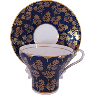 Aynsley Cup Saucer Cobalt Blue Gold Corset Cup #2457 Vintage 1930's