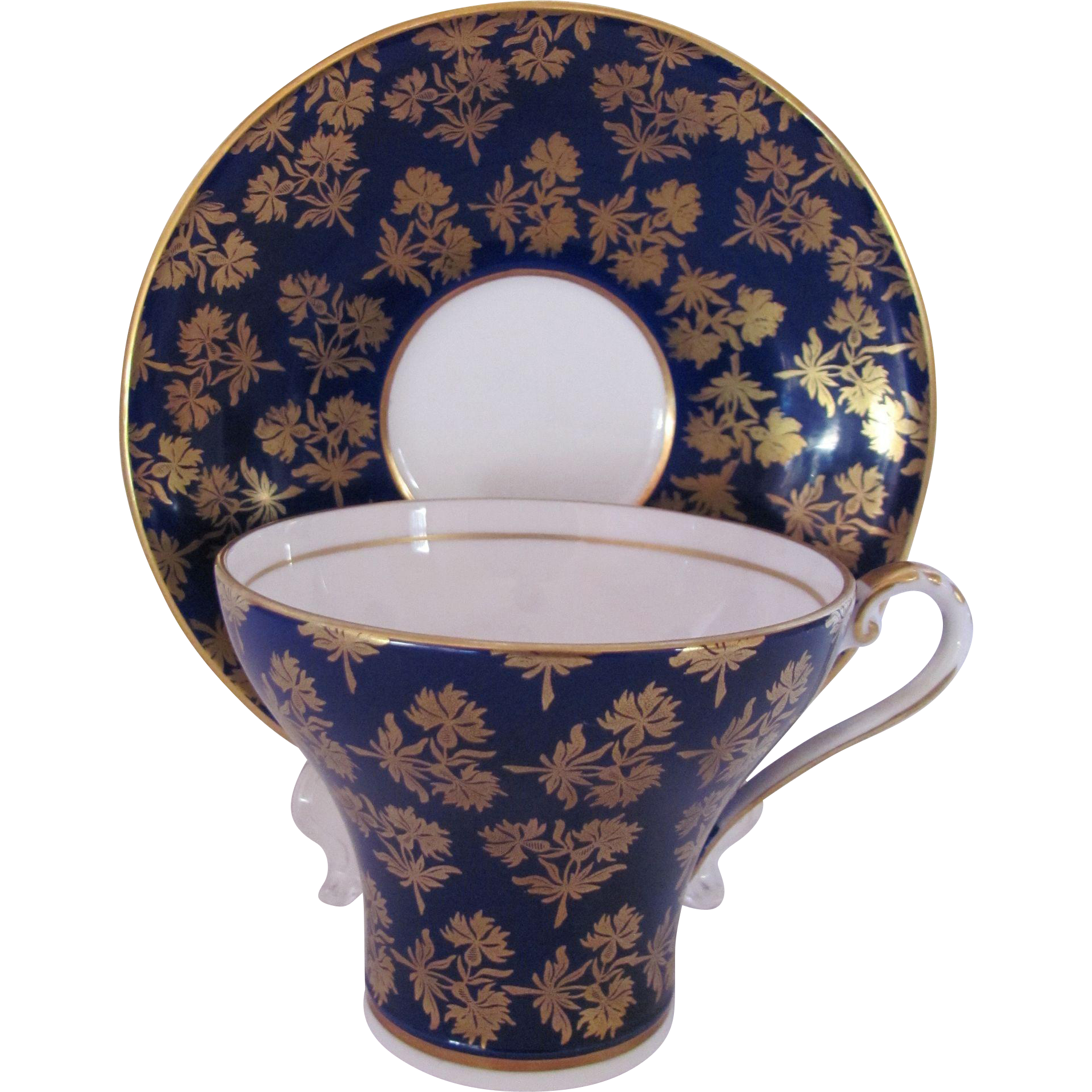 Aynsley Cup Saucer Cobalt Blue Gold Corset Cup #2457 Vintage 1930's