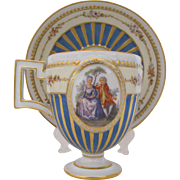 Meissen Pedestal Cup Saucer Marcolini Period c.1774-1814 Gold Enamel Beads