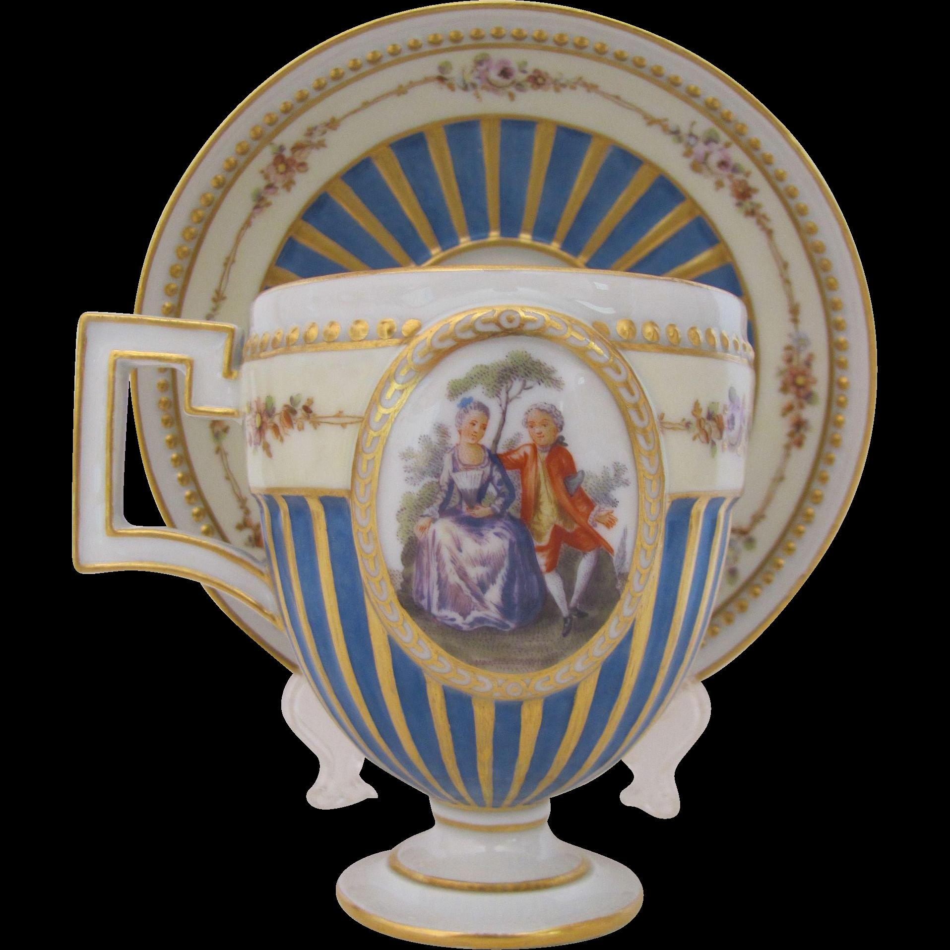 Meissen Pedestal Cup Saucer Marcolini Period c.1774-1814 Gold Enamel Beads