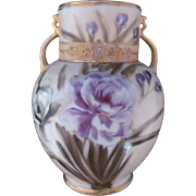 Nippon Vase Enamel Jewel Purple Rose c.1911-1921 Wreath Mark