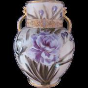 Nippon Vase Enamel Jewel Purple Rose c.1911-1921 Wreath Mark