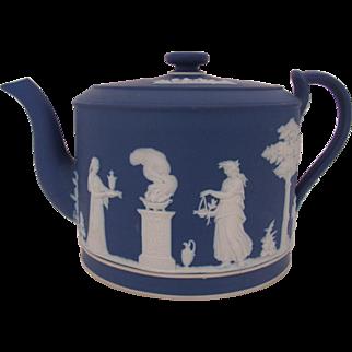 WEDGWOOD Antique Jasperware Dark Blue Teapot Rare Flat Lid Wedgwood Only