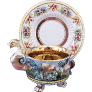 Capodimonte Antique Cup Saucer Crown C #3121 Bird Handle Footed Cup