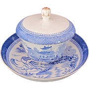 Antique Copeland Blue Willow Cup Saucer Lid c.1851-1885