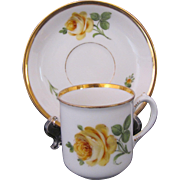 DRESDEN Antique Demitasse Cup Saucer Donath & Co. c.1893 Yellow Rose
