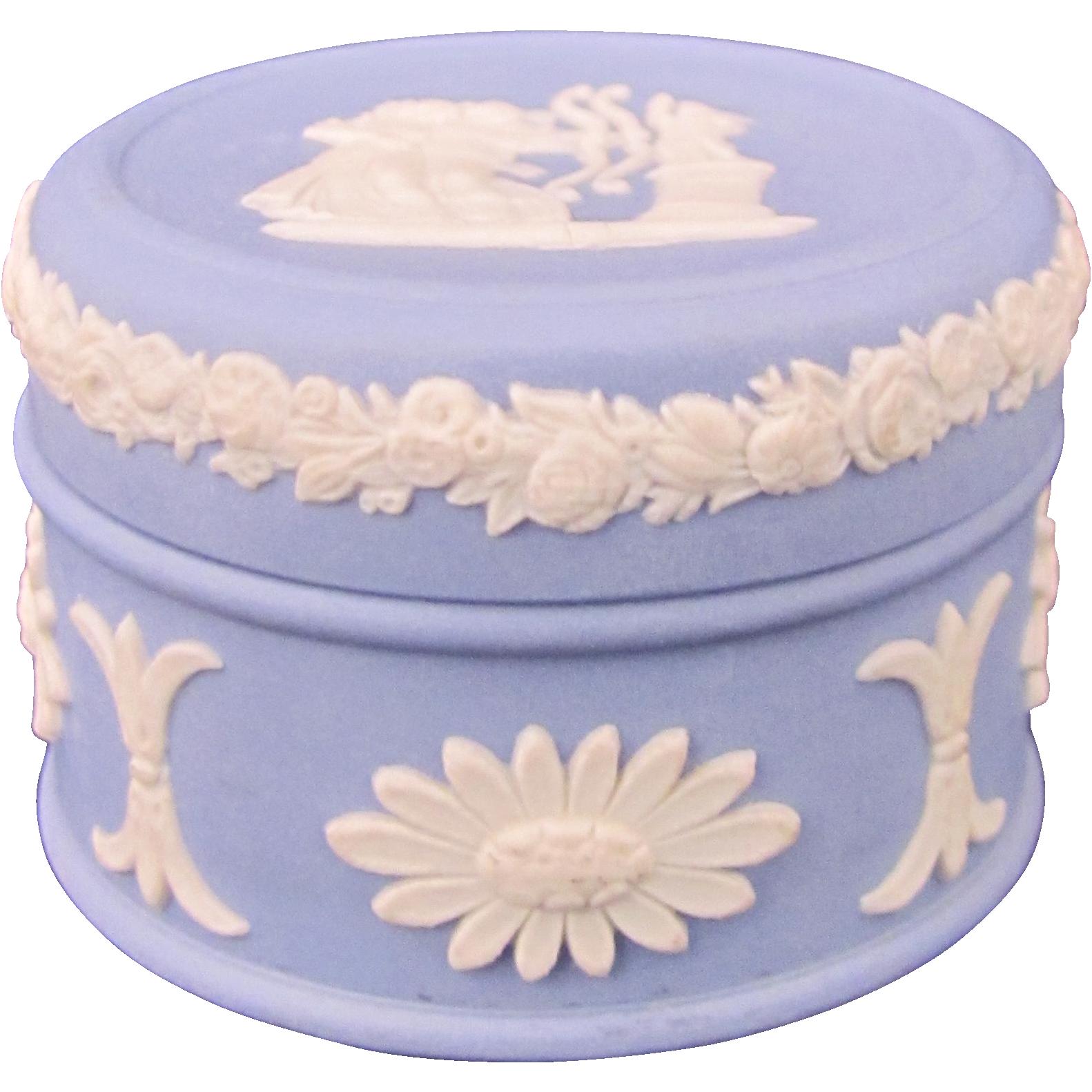 Wedgwood Jasperware Blue Trinket or Pill Box