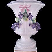 Mottahedeh Encrusted Violet Vase Urn Made In Italy Instead Of Portugal Ribbon
