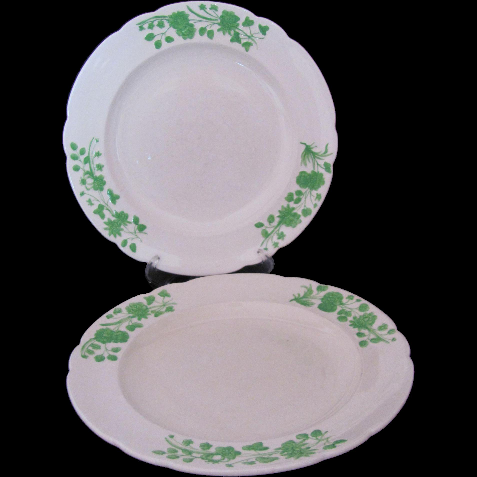Copeland Spode Salad Dessert Luncheon Plate Shamrock 1930's Set of Two
