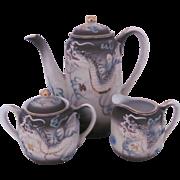 Dragonware Occupied Japan Demitasse Set Pot Creamer Sugar Bowl c.1946-52