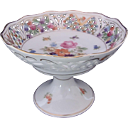 Schumann Compote c.1920's Dresden Flowers Pierced Scalloped Border