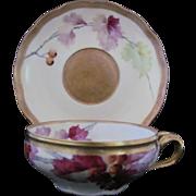 GINORI Antique Breakfast Cup Saucer c.1870 Artist Signed