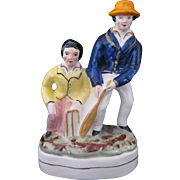 Staffordshire Group Figurine Cricketters Cricket Players Blue Yellow Orange