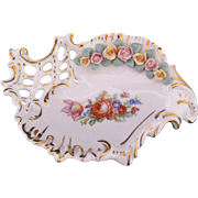 Dresden Dish Free-Form Applied Roses Ackermann Fritze Antique c.1908-1938