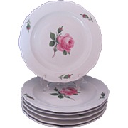 Meissen Rose Pink Plates Set of 6 Mid-Century Luncheon Salad Dessert 8.5 Inches