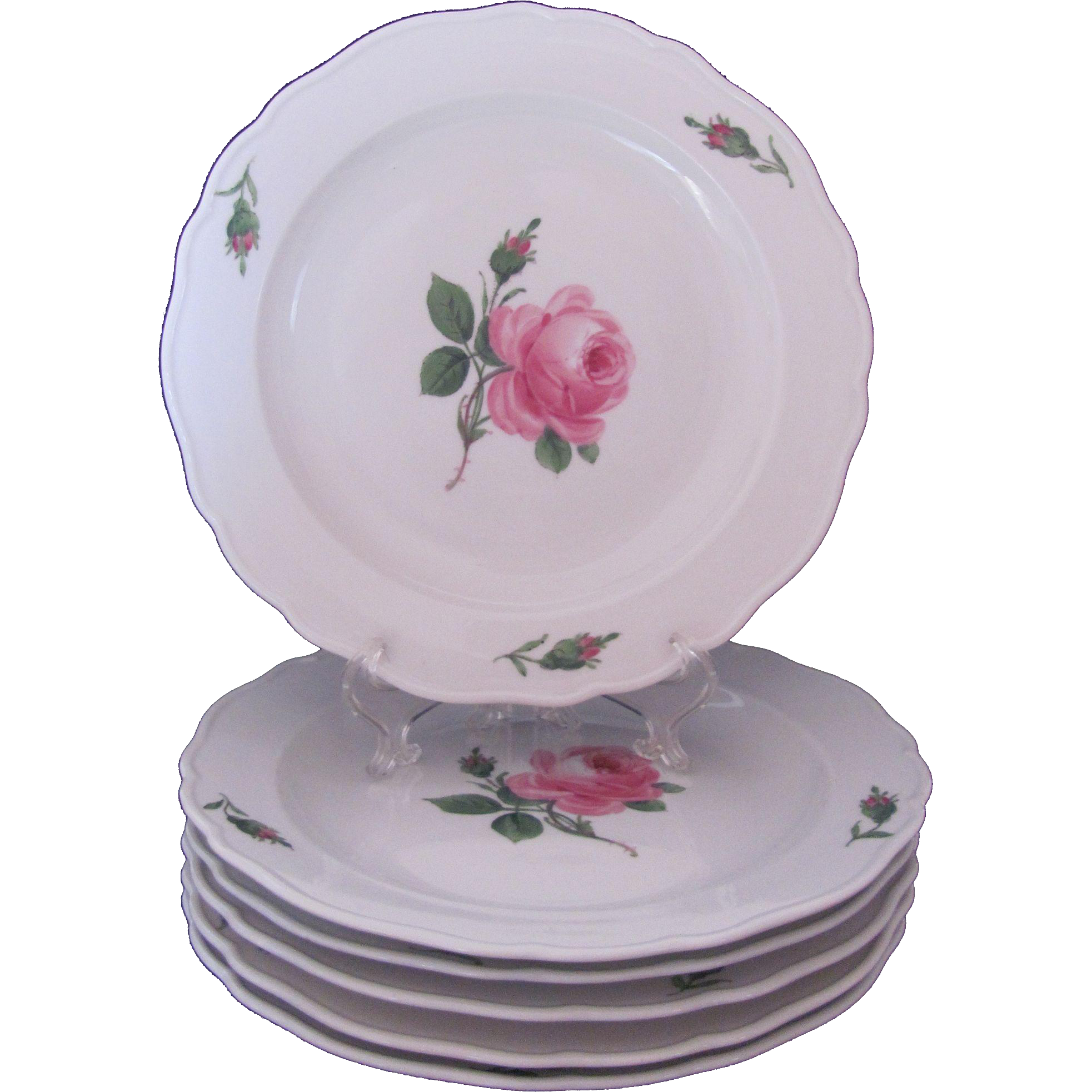Meissen Rose Pink Plates Set of 6 Mid-Century Luncheon Salad Dessert 8.5 Inches