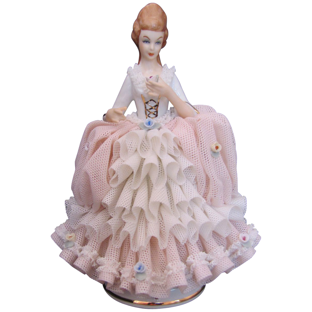 Dresden Lace Figurine Martha Budich Lady Pink White Dress Applied Roses