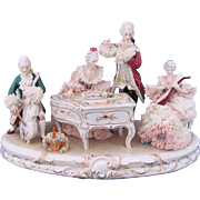 Dresden Porcelain Lace Figurine Musical Group Muller Volkstedt Irish Dresden