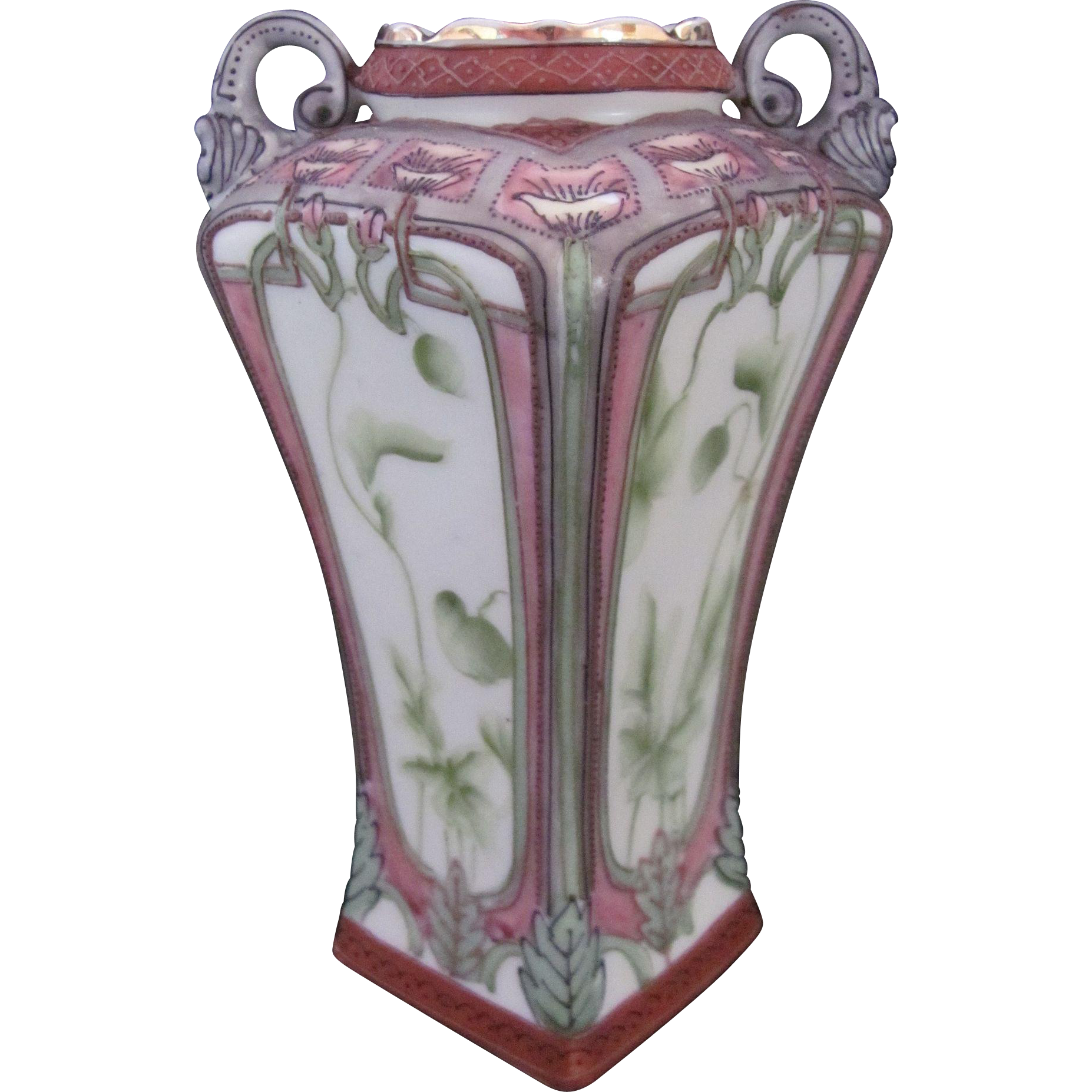 Nippon Vase Art Nouveau Maple Leaf Mark c.1891 Lotus Flowers Vines