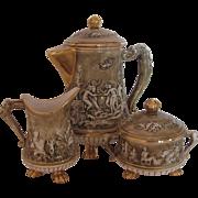R. Capodimonte Footed Coffee Tea Set Pot Creamer Sugar Bowl Mid-Century Brown