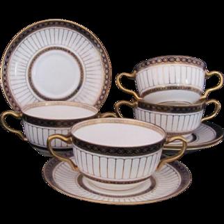 Wedgwood Antique Cream Soup Bowls Set of Four Cobalt Gold Star Mark c.1891-1908