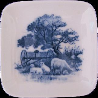 Royal Copenhagen Plate Miniature Farm Scene Sheep Cow Store Label 2985-3 985