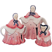 Vintage Woods Little Old Lady Tea Set Pot Creamer Sugar Bowl Wood's