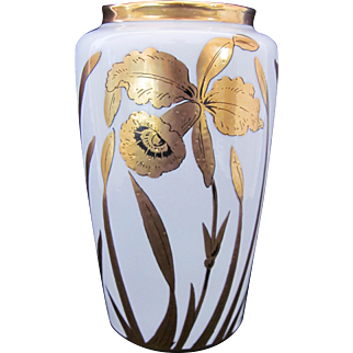 Stouffer Gold Orchid Vase Hand Painted Signed c.1938 Gold White Black
