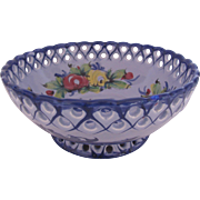 Footed Bowl Dish Made in Portugal Bright Primary Colors Scalloped Pierced Edge