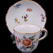 Meissen Dresden Demitasse Cup Saucer First Quality c.1900