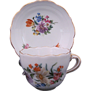 Meissen Dresden Demitasse Cup Deep Well Saucer Dish First Quality c.1900 (B)