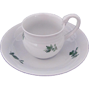 MEISSEN Demitasse Cup Saucer White Green Flowers Swan First Quality