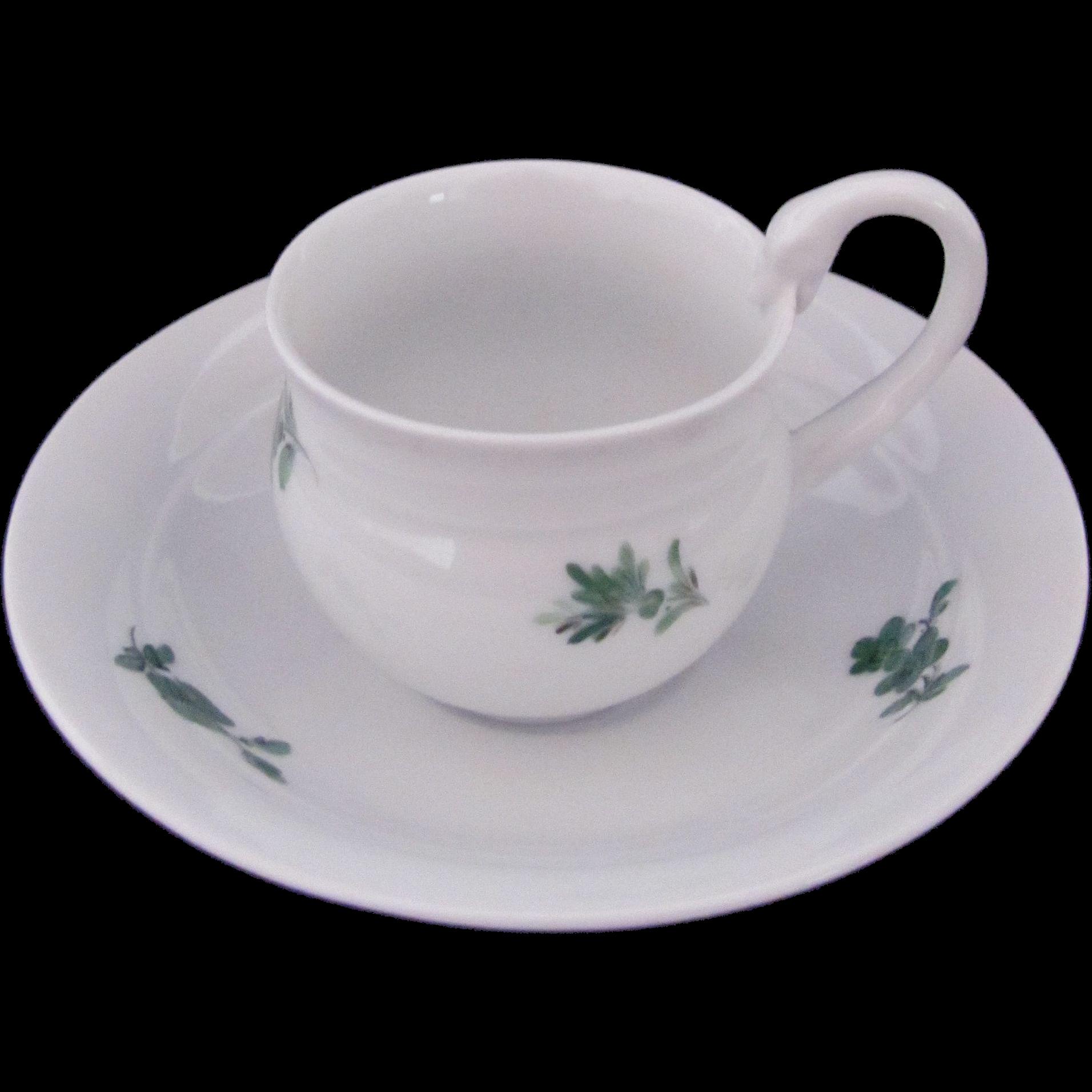 MEISSEN Demitasse Cup Saucer White Green Flowers Swan First Quality
