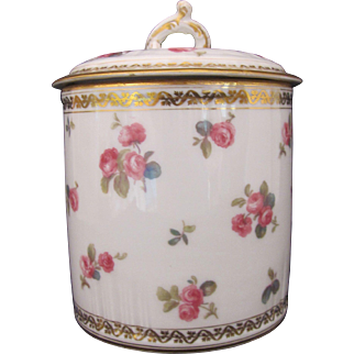 RARE Limoges Large Can Cover GDA Gerard Dufraisseix & Abbot Antique c.1900 Roses:Burley & Co.:Chicago