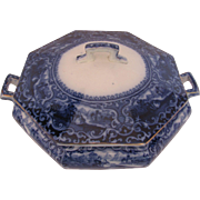 Staffordshire Flow Blue Covered Dish Watteau British Anchor Pottery, c.1910
