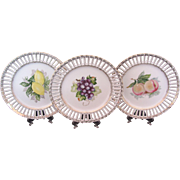 Three Ribbon Fruit Plates Lemon Apple Grape Ucagco Made in Occupied Japan
