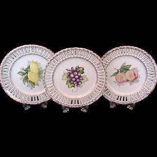 Three Ribbon Fruit Plates Lemon Apple Grape Ucagco Made in Occupied Japan
