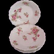 Limoges Soup Bowls Set of 4 Roses Flambeau 1890's Antique