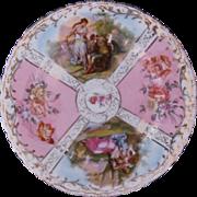 Antique Dresden Style Plate Von Schierholz Austria Watteau Courting Couples