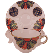 Royal Worcester Miniature Cup Saucer The Fan Compton & Woodhouse