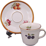 Jaeger Orchard Demitasse Cup Saucer E&R Golden Crown c.1949-1979 Mid-Century