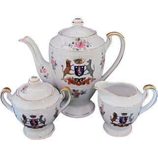 Occupied Japan Demitasse Set Coffee Pot Cream Covered Sugar Bowl c.1945-53
