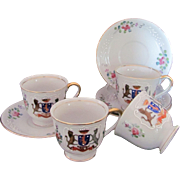 Occupied Japan Demitasse Cup and Saucer Set of Four c.1945-53