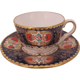 Royal Worcester Miniature Cup Saucer Blue Panelled Floral Compton & Woodhouse