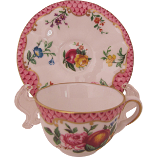 Royal Worcester Miniature Cup Saucer Pink Scale Compton & Woodhouse