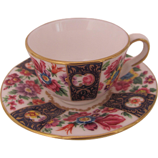 Royal Worcester Miniature Cup Saucer Strings of Flowers Compton & Woodhouse