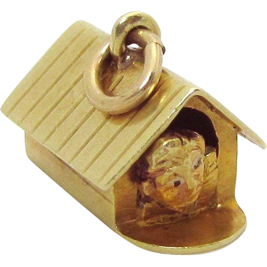 Vintage 14K Gold 3D *Man in a Doghouse* Charm Sloan & Co. 1930s