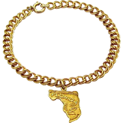 Vintage 1/20 12K Gold Filled *Map of Florida* Double Link Charm Bracelet