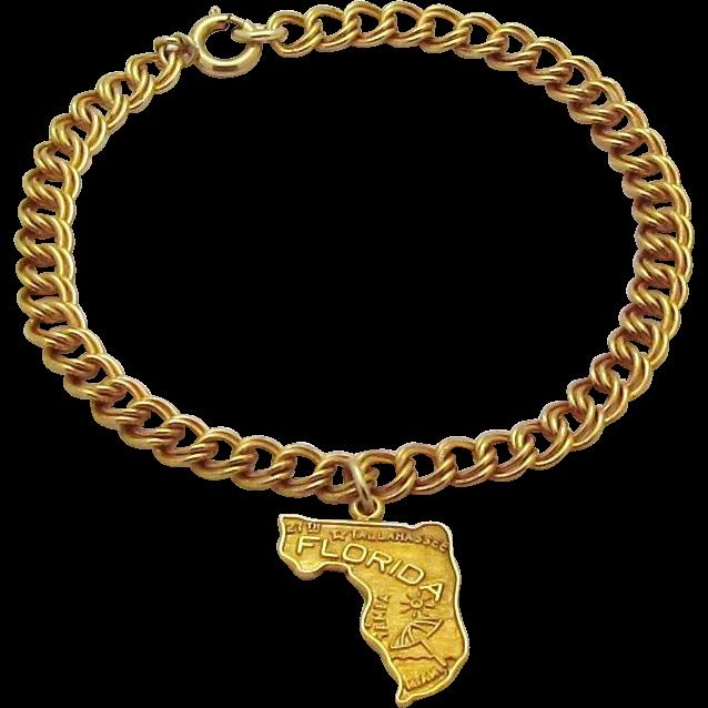 Vintage 1/20 12K Gold Filled *Map of Florida* Double Link Charm Bracelet
